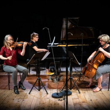 Festival frauenkomponiertWerke vonEmilie Mayer (1812-1883) Trio in b-moll für Pianoforte, Violine und Violoncello op. 16Cecile Marti (*1973) «Forming Sculpture» für Klaviertrio (2017-18) Fanny Hensel (1805-1847) Trio für Klavier, Violine und Violoncello d-moll op.11ABSOLUT TRIOBettina Boller, ViolineJudith Gerster, VioloncelloStefka Perifanova, KlavierModeration: Cécile Marti (Komponistin und Bildhauerin) und Jessica Horsley (künstlerische Leiterin des Festivals)20. Juni 2021Druckereihalle im AckermannshofFOTO:© Susanna Drescher 2021www.susannadrescher.ch